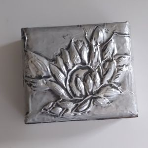 Small metal and wood jewelery box